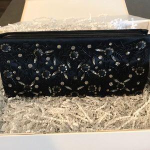 Ann Taylor embellished Black satin crystal Clutch
